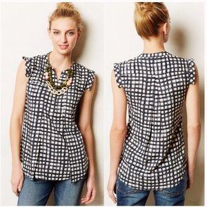 Anthro 11-1 Tylho short sleeve gingham blouse